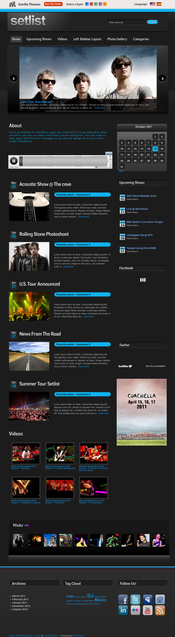 Setlist WordPress Theme