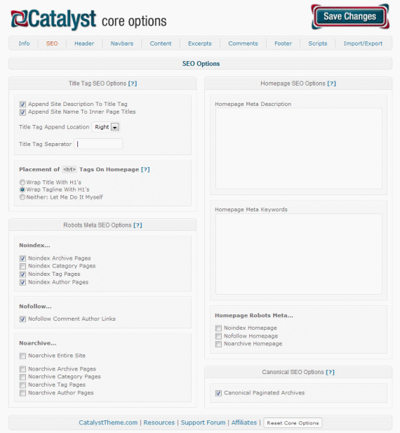 Catalyst SEO Options