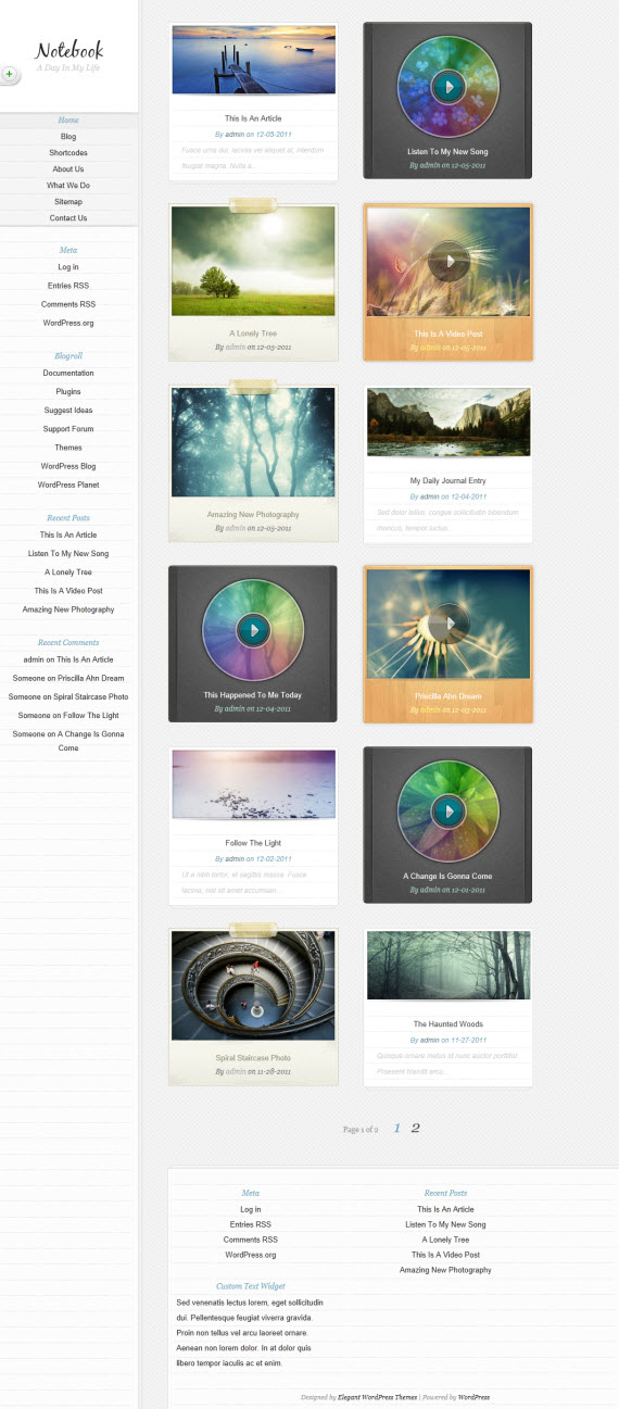 Notebook WordPress Theme