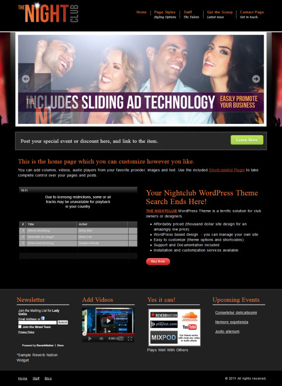 The NightClub WordPress Theme