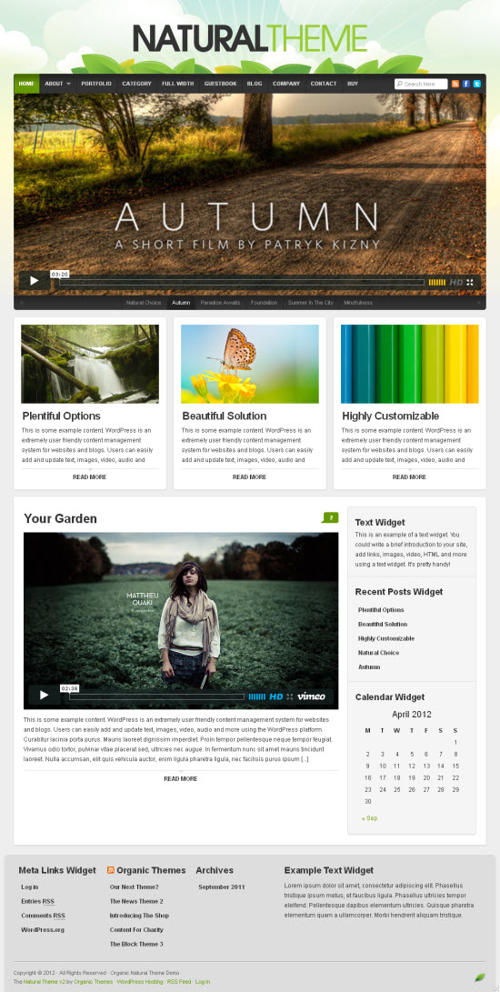 Natural 2.0 WordPress Theme