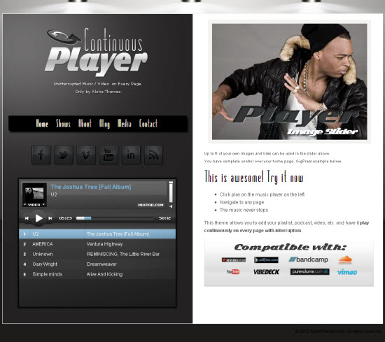 Continous Player WordPress Theme