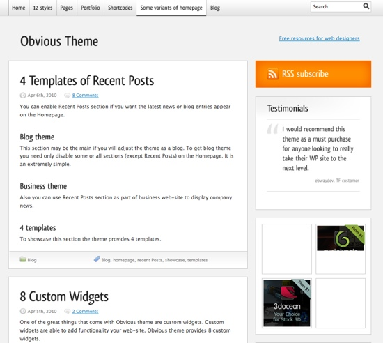 Obvious WP Theme - Blog Style