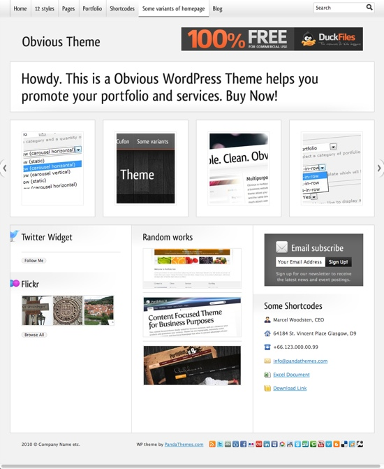 Obvious WP Theme - Porfolio Style