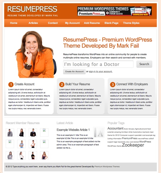 ResumePress WordPress Theme